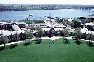 United States Coast Guard Academy - Aerial view of Washington Parade field and campus