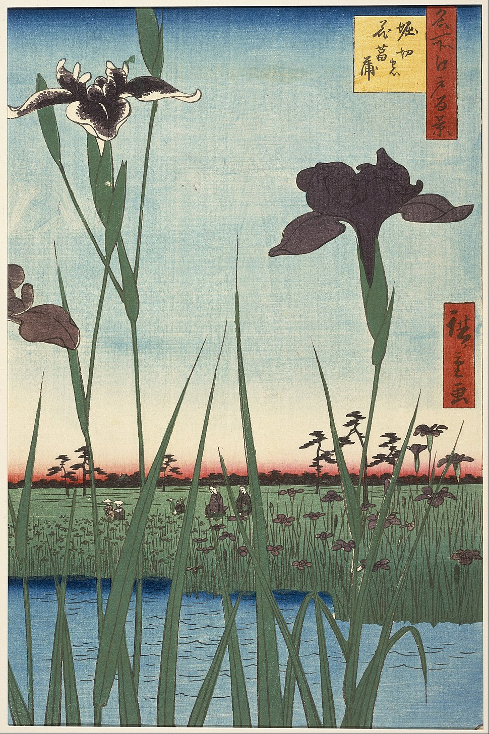 Utagawa Hiroshige I, published by Uoya Eikichi - Horikiri Iris Garden (Horikiri no hanashōbu), from the series One Hundred Famous Views of Edo (Meish... - Google Art Project