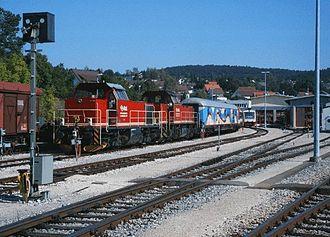 Hohenzollerische Landesbahn - HzL locomotive depot in Gammertingen with  V 124 and V 151 locomotives