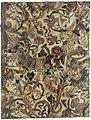 Vel verheven goudleer, gedecoreerd met een festoen, opgebouwd uit vruchten, bloem- en bladranken, putti, vogels, een hond, een vos (?), een slang en linten.jpeg