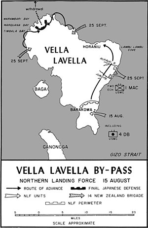Battle of Vella Lavella (land) - Map of the land battle on Vella Lavella