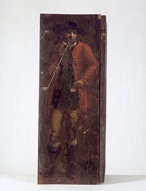 Vestergade - Painted shutter from Vestergade 5: A farmer smoking a clay pipe