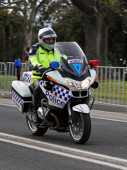 Police motorcycles are commonly used for patrols and escorts, as seen here in Australia Victorian Police Motorcycle, Geelong, Aust, jjron, 30.9.2010.jpg