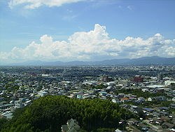 View of Kurume City from Kannon Statue