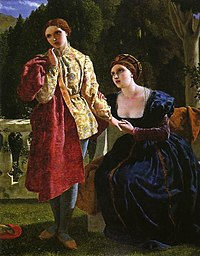 Painting of a Renaissance-era woman dressed as a man, standing and looking away, as a woman dressed as a woman holds the other's hand to her breast, looking imploringly at the other, set against a bucolic backdrop