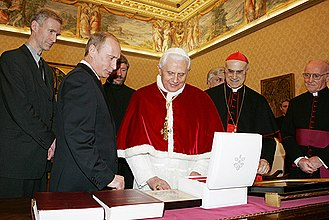 Benedict with President of Russia Vladimir Putin on 13 March 2007 Vladimir Putin in the Vatican City 13 March 2007-4.jpg