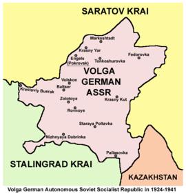 Volga German ASSR (Autonome Sozialistische Sowjet-Republik der Wolga-Deutschen) outline map