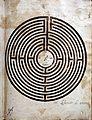 Volgarizzamento del Rimedio d'amore, La pulce, Dell'arte d'amare di Ovidio (ms. 110), xiv-xv secolo, labirinto d'amore 02,2.jpg
