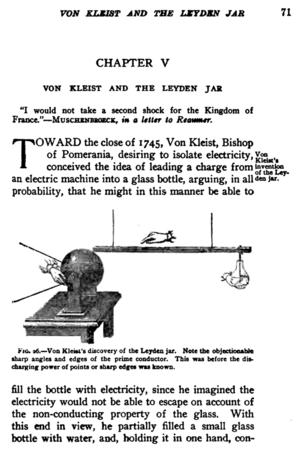 Ewald Georg von Kleist - Description and drawing of Kleist's invention of the Leyden jar