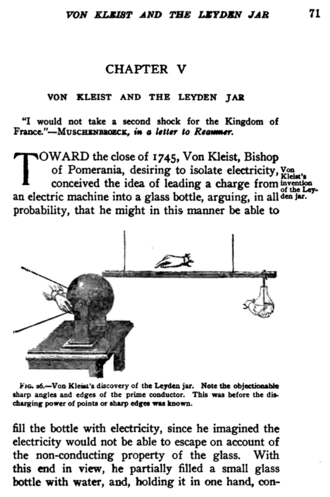 Ewald Georg von Kleist - Description and drawing of Kleist's invention of the Leyden jar