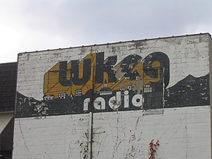 WKZV - Relic from the past: Aging WKEG bill painted on the side of a building along North College Avenue at East Chestnut Street in Washington, Pennsylvania; across and down the street from the current WKZV studios. Photo: October 2007.