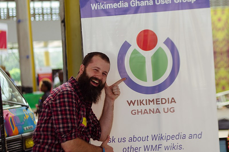 Wikimedian at Wikimedia Ghana UG stand at re:publica Accra