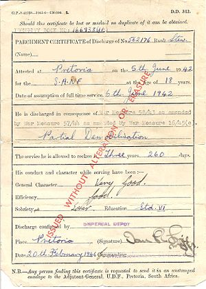 Demobilization - Demob papers issued to a South African sailor in February 1946