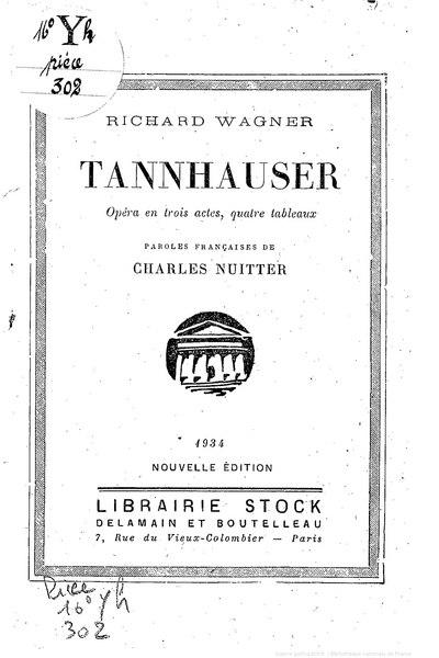 File:Wagner - Tannhauser, 1934, trad. Nuitter.djvu