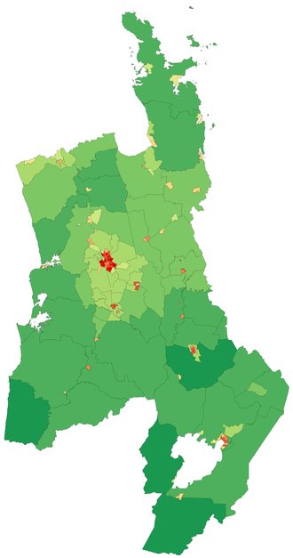 Waikato - Map of population density in the Waikato region (2006 census)