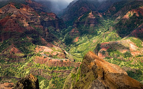 Waimea Canyon, also known as the Grand Canyon of the Pacific, located on the western side of the island of Kauaʻi