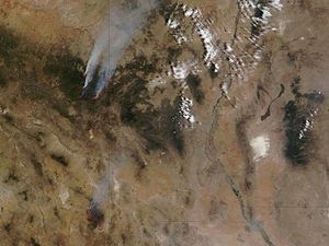Wallow Fire - Wallow North and Horseshoe Two Fires (lower left), Arizona. NASA satellite image, midday, June 12, 2011. Vertical line is AZ-NM state line.