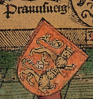 Principality of Brunswick-Wolfenbüttel - Coat of arms of the Duchy in Schedel's World Chronicle of 1493