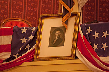 Washington portrait in the Lincoln box at Ford's Theatre, Washington, D.C. 2.jpg