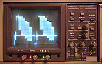 Waveform monitor - Waveform monitor in 2-line mode, showing color bars.