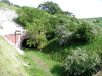 Hull and Barnsley Railway - The line at Weedley Tunnel in 2008; the line in the Yorkshire Wolds was a scenic section of the line, and featured in the railway's promotional material for passenger traffic