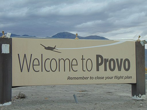 Welcom to Provo sign at Provo Airport, Oct 16