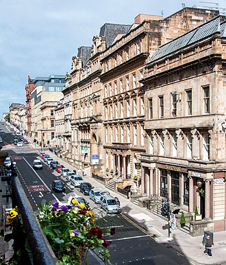 Blythswood Hill - West George Street on Blythswood Hill, Glasgow city centre, viewing west