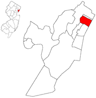 Map highlighting West New York within Hudson County. Inset: Location of Hudson County highlighted in the State of New Jersey.