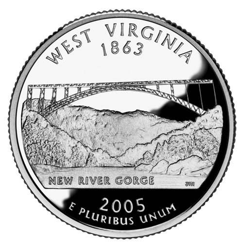 West Virginia quarter dollar coin