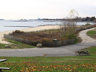 One of the beaches on the west side of Sherwood Island State Park in Westport, Connecticut