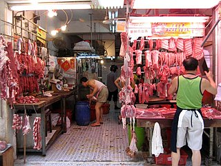 Wet market Market selling perishable goods, including meat, produce, and food animals