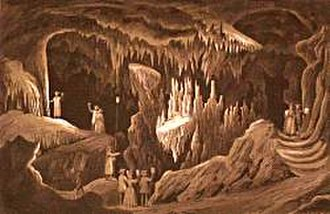 """Grand Caverns - """"The Drums, The Tapestry Room, Weyer's Cave""""; Lithograph from Beyer (1858): Album of Virginia: Illustrations of the Old Dominion."""