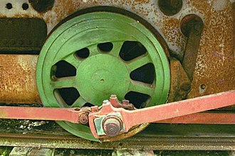 Coupling rod - Connecting rod and coupling rods attached to a small locomotive driving wheel