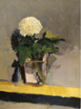 White chrysanthemum in glass of water on shelf by Christopher Willard.png