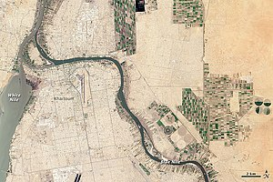Confluence - The White Nile and Blue Nile merge at Khartoum; satellite view