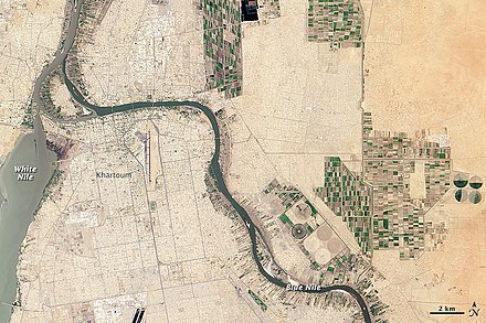 The White Nile and Blue Nile merge at Khartoum; April 2013 satellite view Whiteandblueniles.jpg