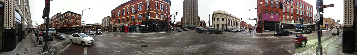 The intersections of North, Damen and Milwaukee Avenues in 2010 in Panorama