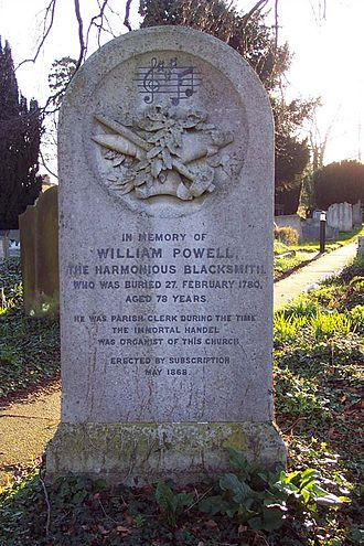 Handel at Cannons -  Handel's connection with Cannons is commemorated in this gravestone of questionable accuracy – see The Harmonious Blacksmith