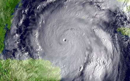 Hurricane Wilma on 19 October 2005; 882 hPa (12.79 psi) in the storm's eye Wilma1315z-051019-1kg12.jpg