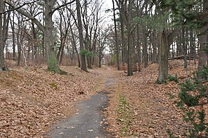 Mystic River Reservation - A walking path (a dry section of the former Middlesex Canal) near George Shannon Beach in Massachusetts