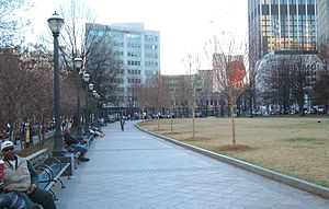 Woodruff Park - Wide sidewalk along the park's east side