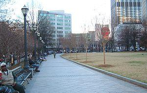 Woodruff Park - Wide sidewalk along the park's east side