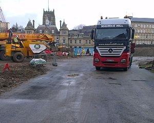 The Broadway, Bradford - Building work began again in January 2014, beginning by demolishing the temporary urban park which had occupied part of the site since 2010.