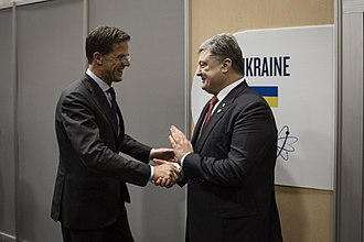 Mark Rutte - Rutte with Ukrainian President Petro Poroshenko on 1 April 2016