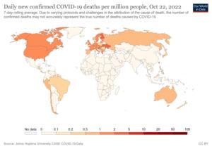 Mapa světa denně nových potvrzených úmrtí na COVID-19 na milion lidí podle zemí.png