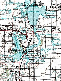 The town of Spirit Lake, in the Iowa Great Lakes region. Map courtesy of USGS