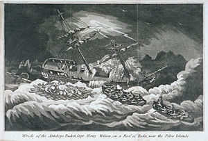 Antelope (1781 EIC packet ship) - Image: Wreck of the Antelope