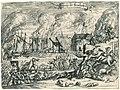 Wreedheden van de Fransen te Bodegraven, 1672 Tyrannye tot Bodegrave (titel op object), RP-P-OB-77.180.jpg