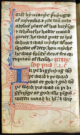 Lollardy - Beginning of the Gospel of John from a pocket Wycliffe translation that may have been used by a roving Lollard preacher (late 14th century)
