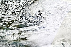 Cyclone Xaver - Xaver making landfall over Norway and Denmark on 5 December 2013.